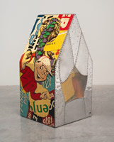 Tony Berlant<BR>Sandy, 1964<BR>printed tin, aluminum, paper, cloth and polyester resin over plywood<BR>37 1/2 x 19 x 19 in (95.3 x 48.3 x 48.3 cm)