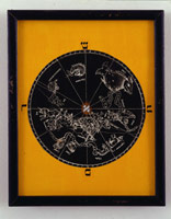 Untitled (roud astrological map, aleph center), 1975<BR>yellow & black verfax collage<BR>9 1/2 x 7 1/2 in (24.13 x 19 cm)