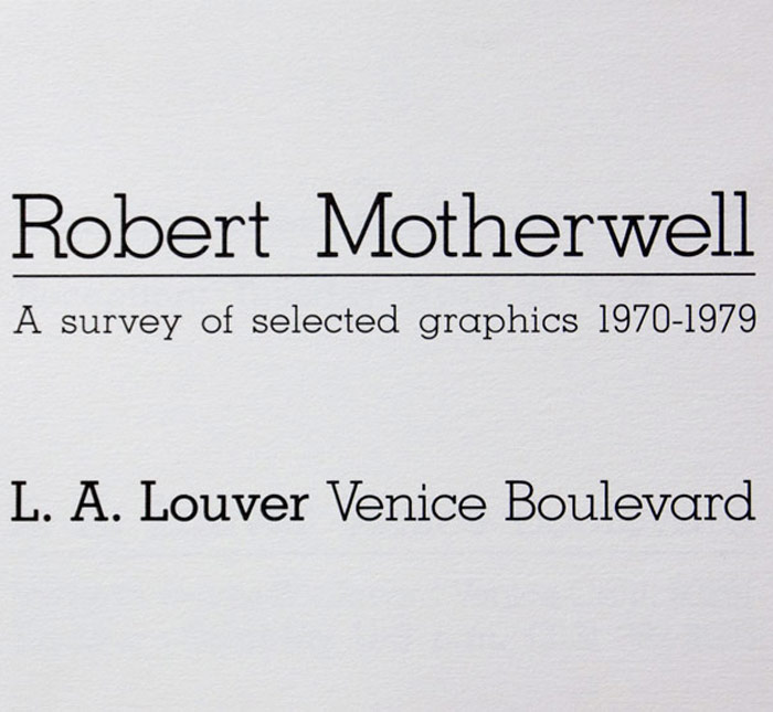 Robert Motherwell: A survey of selected graphics 1970 - 1979