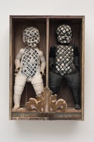 Edward Kienholz<BR>It Takes Two to Integrate (Cha Cha Cha), 1961<BR>painted dolls, dried fish, glass in wooden box<BR>31 x 27 x 7 in (78.7 x 68.6 x 17.8 cm)<BR>