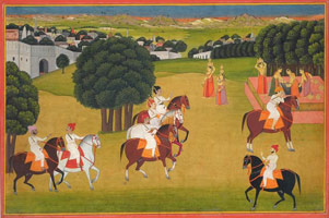 Thakur Gyan Singh Watches a Prince Receiving Water from Women at a Village