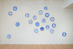 Eduardo Sarabia / History of the World, 2008 / hand painted ceramic plates, each plate an individual artwork / each 12.6 in. (32 cm)