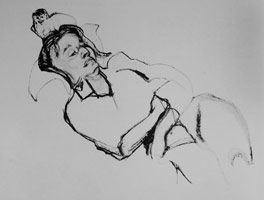 Lucian Freud<BR>Girl with a Monkey, 1978<BR>charcoal on paper<BR>14 1/8 x 20 1/2 in (35.9 x 52.1 cm)