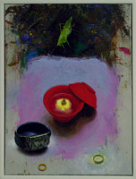 Omiae red cup with lid, 1991<BR>