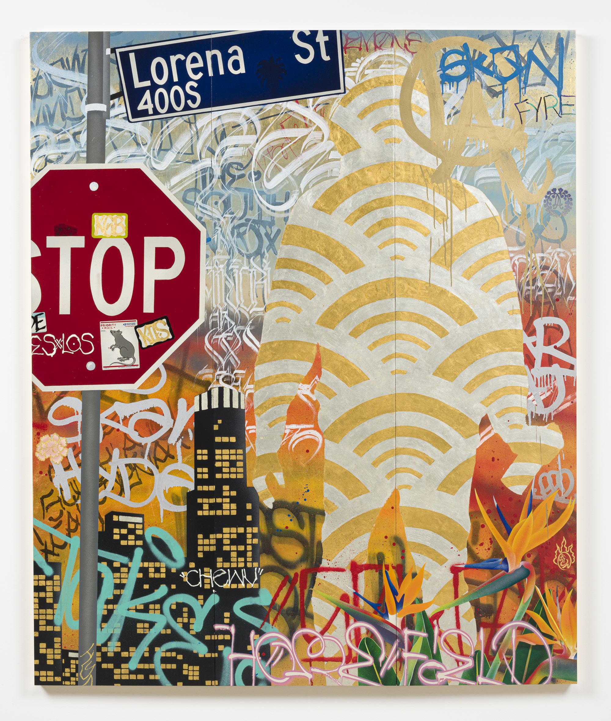 Gajin Fujita<br> Home Field LA, 2020<br> 24k gold leaf, 12k white gold leaf, spraypaint, acrylics, paint markers, Sakura streaks on three wood panels<br> Overall: 72 x 60 in. (182.9 x 152.4 cm)<br> Each Panel 72 x 20 in. (182.9 x 50.8 cm)<br> $160,000.00