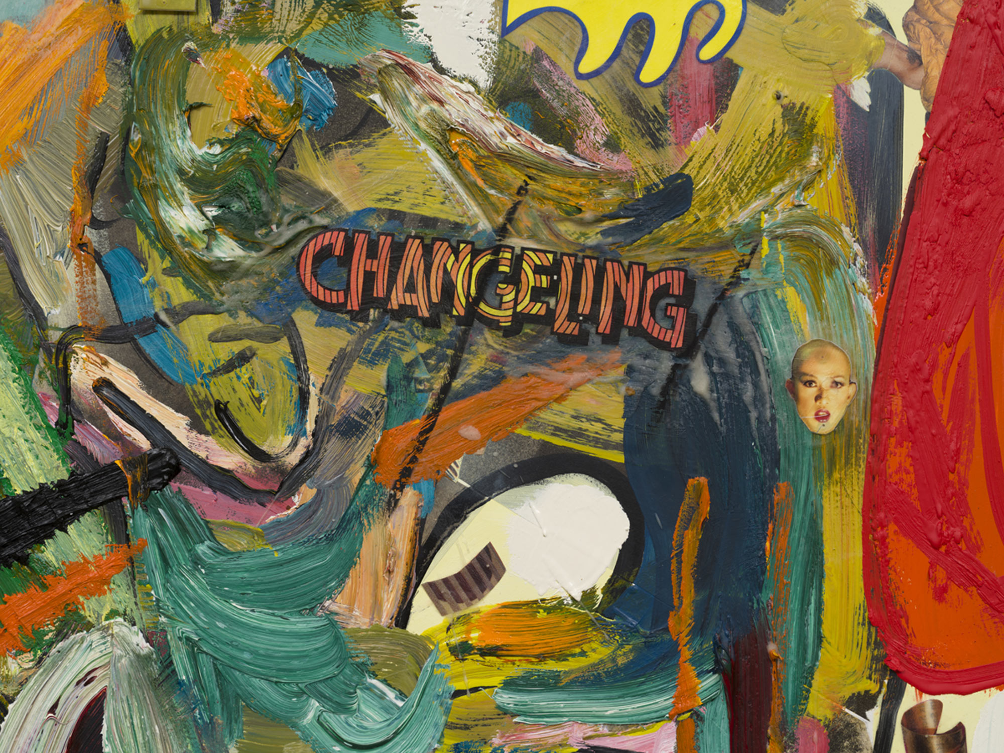 Elliott Hundley<br> Changeling, 2020<br> oil, encaustic, photographs and collage on linen<br> 80 x 96 x 2 1/4 in. (203.2 x 243.8 x 5.7 cm)<br> $125,000.00