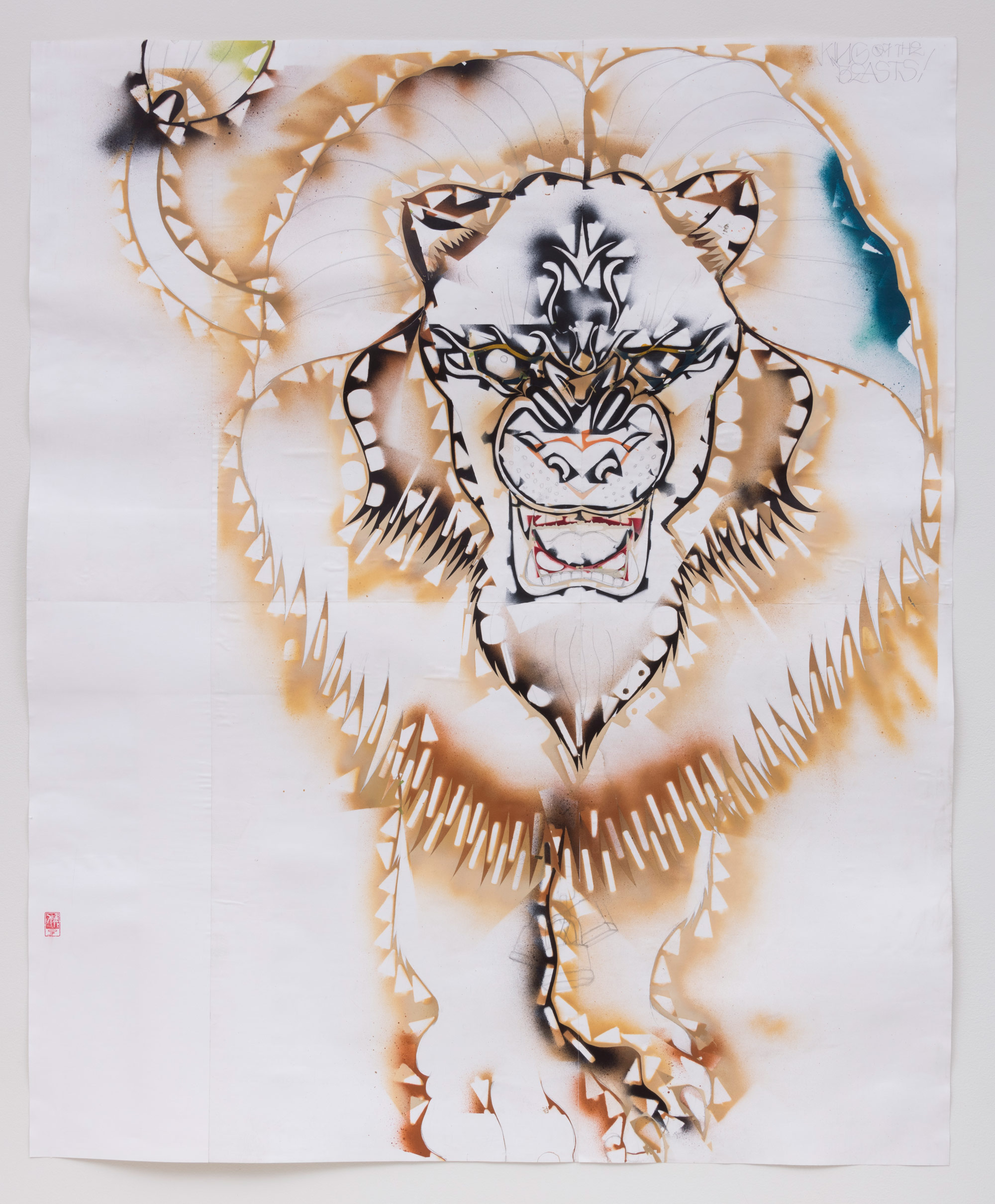 Lion-stencil-Study-for-Invincible-Kings-of-This-Mad-Mad-World-GF18-10